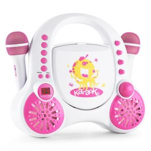 Rockpocket Karaoke per Bambini CD AUX 2 x Microfoni Set Adesivi Bianco