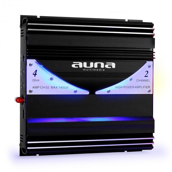 AMP-CH02 Amplificatore Finale Auto 1400W - 190W RMS 2 canali mono LED 2