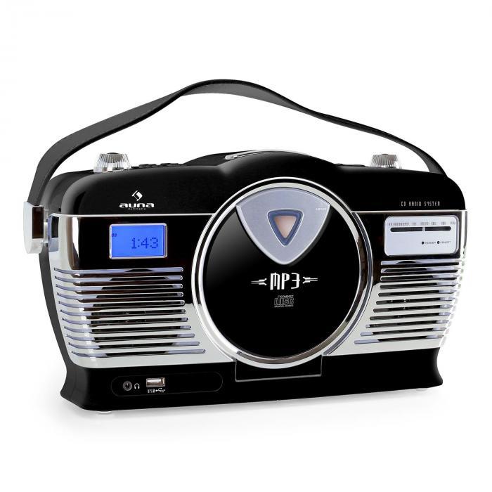 RCD-70 radio vintage FM USB CD nera nero