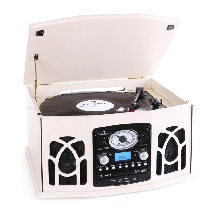 NR-620 impianto stereo con giradischi Legno Crema crema