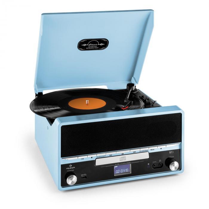 RTT 1922 Stereo Giradischi Retrò MP3 CD USB AUX Registratore Blu