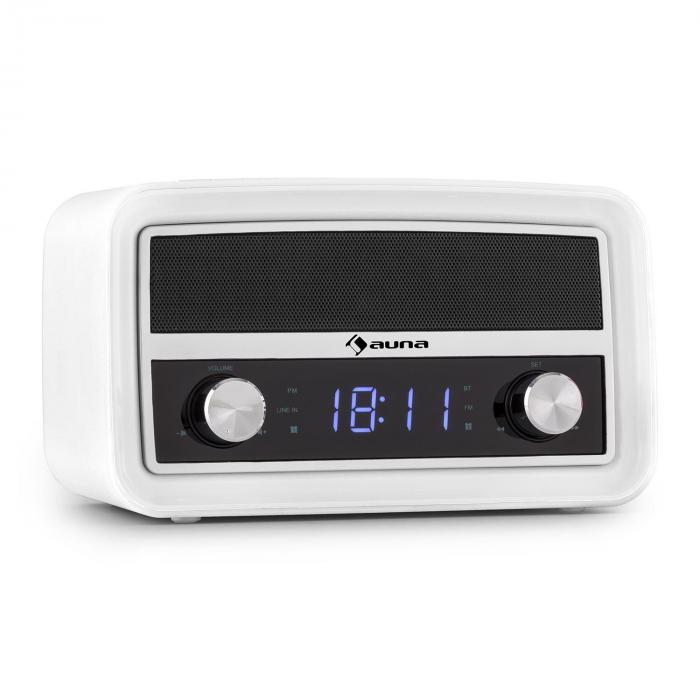 Caprice WH Radio Sveglia Retro Bluetooth FM USB AUX Bianca
