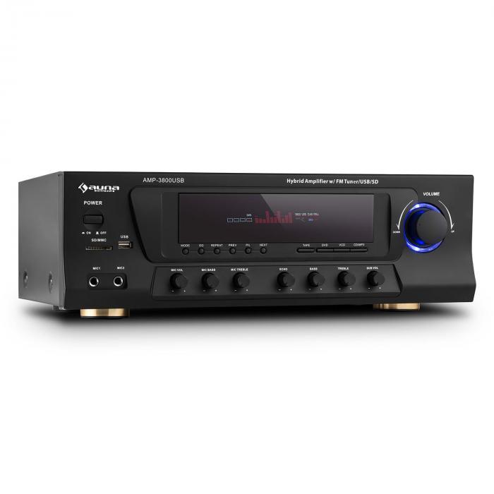 AMP-3800 USB Ricevitore 5.1 Canali Surround 600W max. USB SD FM Nero