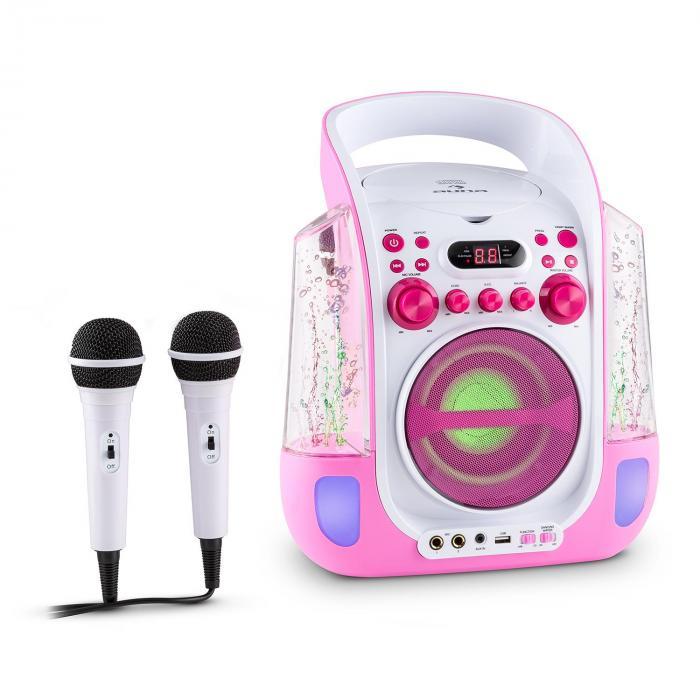 Kara Liquida Impianto Karaoke CD USB MP3 Getto D'Acqua LED 2 x Microfoni Portatile rosa