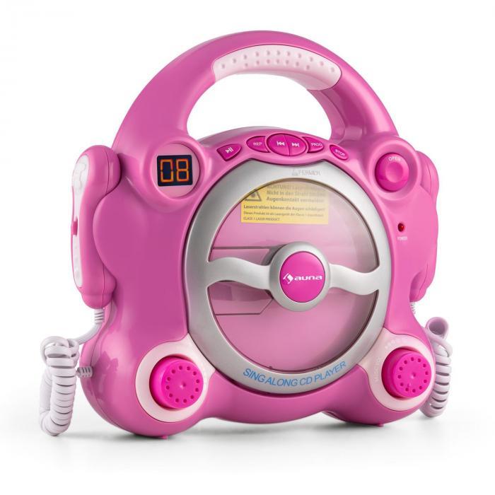 Pocket Rocker Lettore CD Karaoke Sing-A-Long 2 x Microfoni rosa
