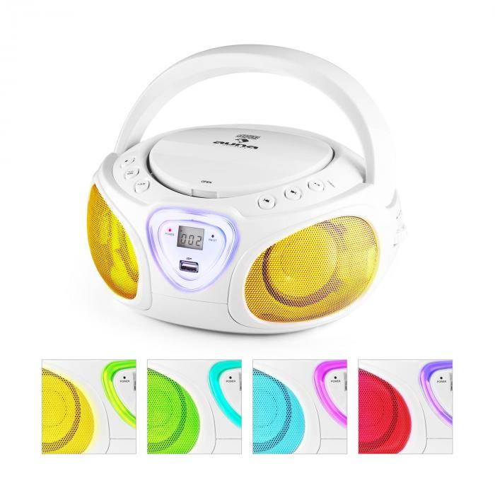 Roadie Boombox CD USB MP3 Radio OM/OUC Bluetooth 2.1 Gioco Cromatico LED bianco bianco