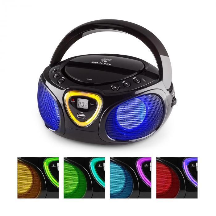 Roadie Boombox CD USB MP3 Radio OM/OUC Bluetooth 2.1 Gioco Cromatico LED Nero nero
