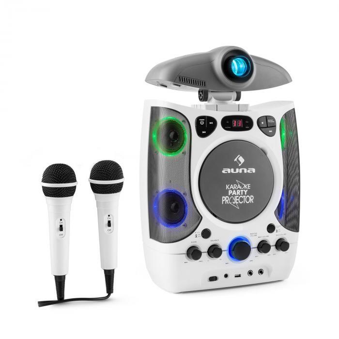 KaraProjectura Impianto Karaoke con Proiettore Effetti Luce LED USB bianco