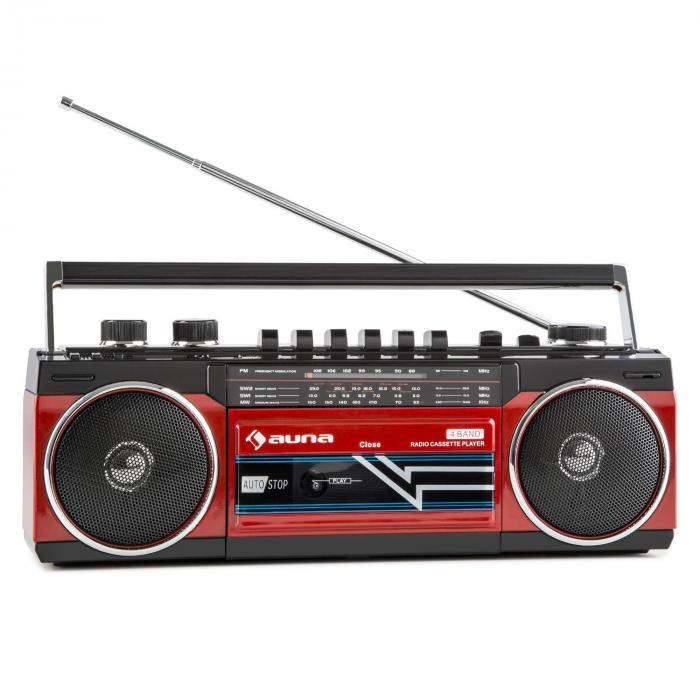 Duke Maxistereo Retrò Lettore Musicassette Portatile USB SD Bluetooth Radio FM rosso