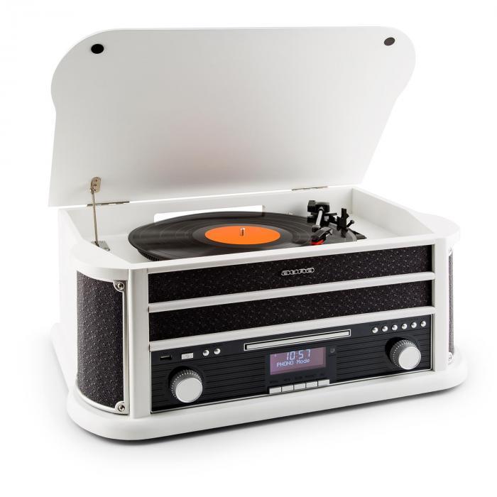 Belle Epoque 1908 DAB Impianto Stereo Retrò Giradischi DAB+ Bluetooth bianco bianco | CD-Player / Bluetooth / DAB Radio