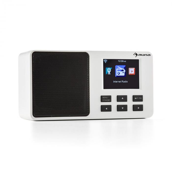 "IR-110 Radio Internet Display TFT a colori da 3,2"" Batteria WLAN USB Bianca bianco"