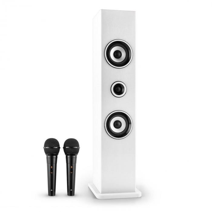 Karaboom Altoparlante Bluetooth USB AUX Karaoke 2 x Microfoni Bianco bianco