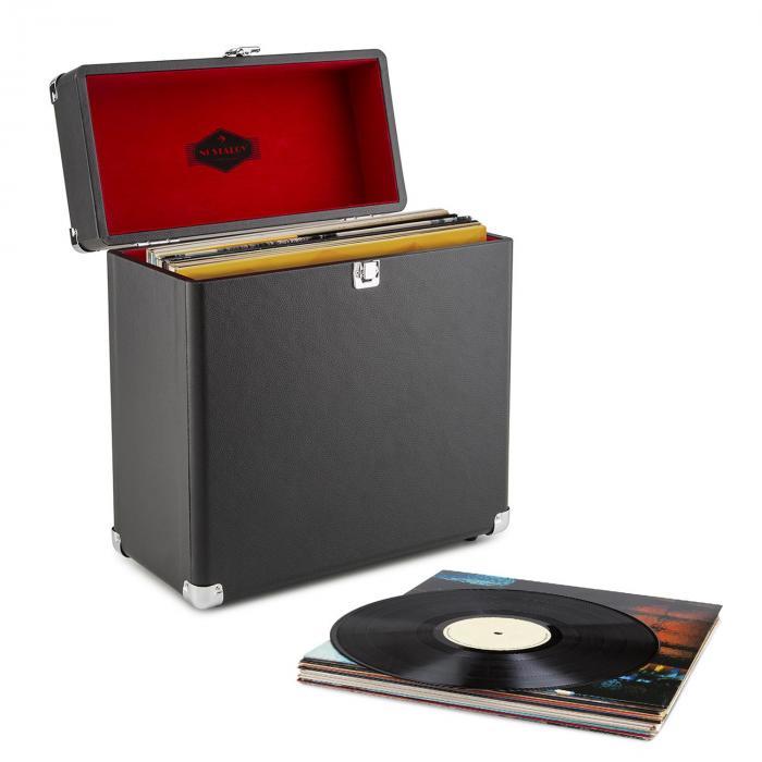 Vinylbox Valigetta Porta Dischi Pelle Nostalgia 30 LPs nero nero