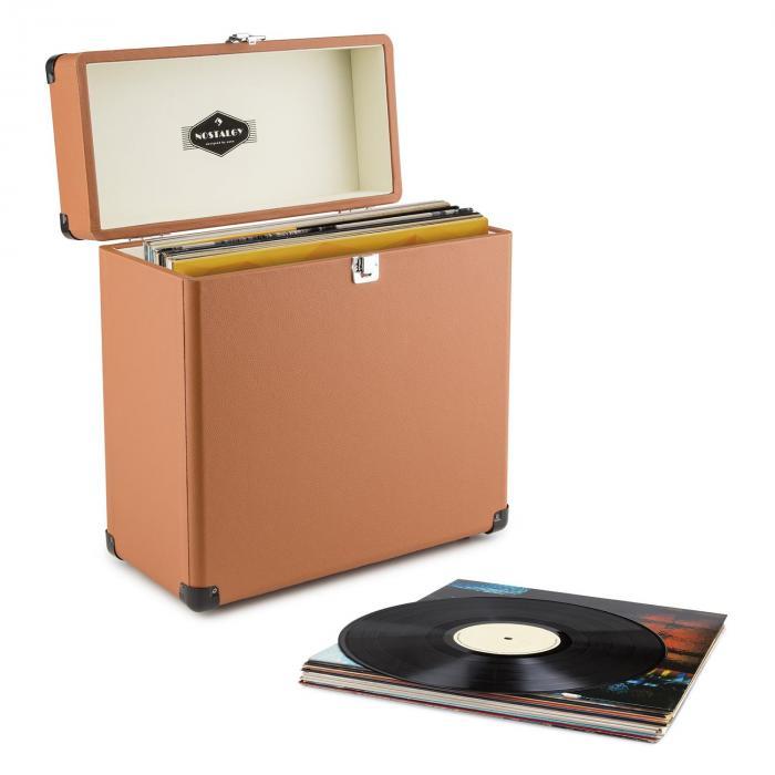 TTS6 Record Case Valigetta Porta Dischi Pelle Nostalgia 30 LPs marrone marrone