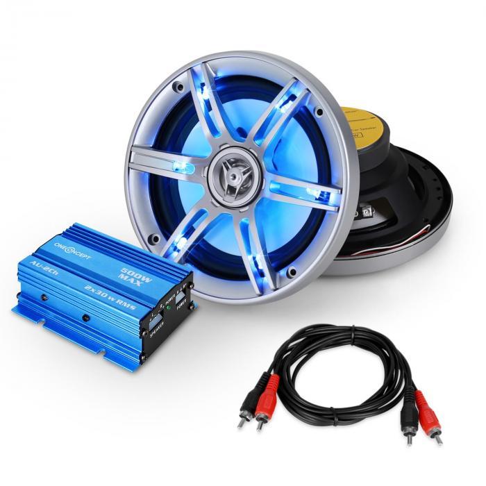 """Set Car HiFi """"Potsdam"""" Sistema 2.0 600W amp & casse LED"""
